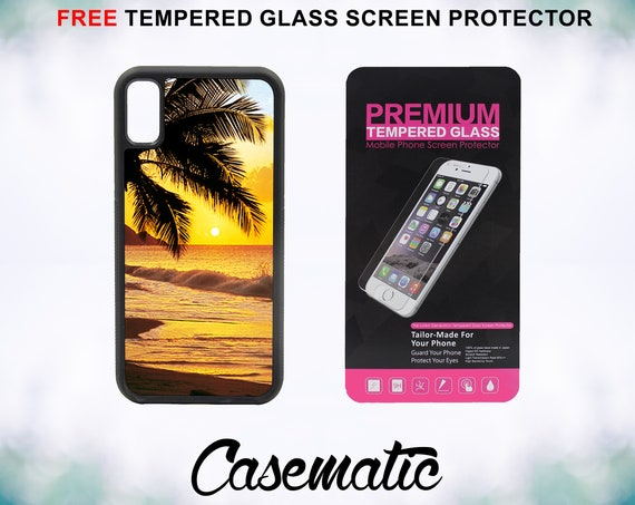 Beach Scene at Sunset Water Palm Tree iPhone Case for iPhone XR XS Max X 8 Plus 8 7 Plus 7 6 Plus 6 6s SE 5S 5c 4 Tempered Screen Protector