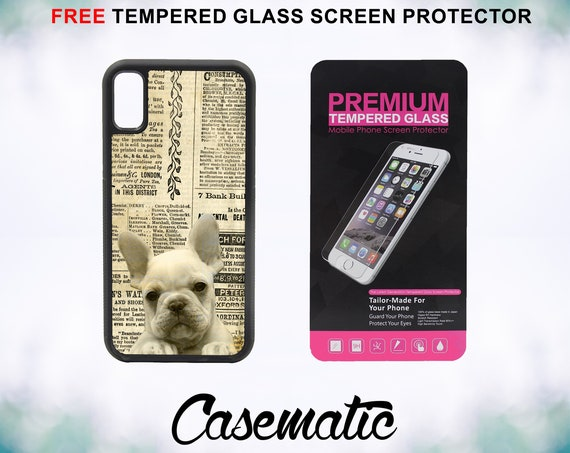 Cute French Bulldog Old Newspaper iPhone Case for iPhone XR XS Max X 8 Plus 8 7 Plus 7 6 Plus 6 6s SE 5S 5c 4 Free Screen Protector Vintage