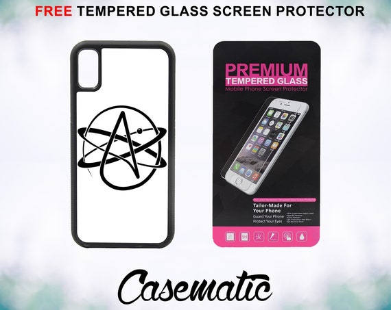 Atheist Symbol iPhone Case for iPhone XR XS Max X 8 Plus 8 7 Plus 7 6 Plus 6 6s SE 5S 5c 4 4s Free Tempered Glass Screen Protector