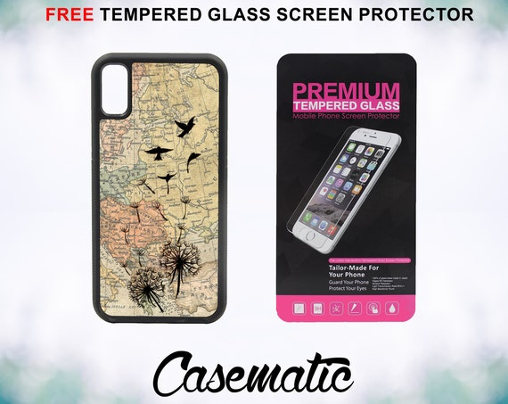 Dandelion Birds Vintage Map iPhone Case for iPhone XR XS Max X 8 Plus 8 7 Plus 7 6 Plus 6 6s SE 5S 5c 4 4s Tempered Glass Screen Protector
