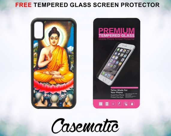Buddha Color Enlighten Om iPhone Case for iPhone XR XS Max X 8 Plus 8 7 Plus 7 6 Plus 6 6s SE 5S 5c 4 Free Tempered Glass Screen Protector