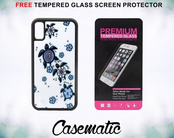 Flower Sea turtles Art iPhone Case for iPhone XR XS Max X 8 Plus 8 7 Plus 7 6 Plus 6 6s SE 5S 5c 4 4s Tempered Glass Screen Protector Aloha