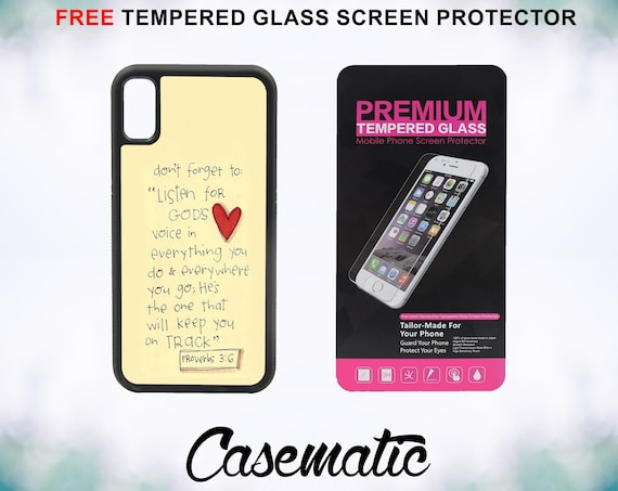 Bible Verse Proverbs 3-6 iPhone Case for iPhone XR XS Max X 8 Plus 8 7 Plus 7 6 Plus 6 6s SE 5S 5c 4 Tempered Glass Screen Protector Quote