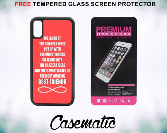Amazing best friends quote iPhone Case for iPhone XR XS Max X 8 Plus 8 7 Plus 7 6 Plus 6 6s SE 5S 5c 4 Free Tempered Glass Screen Protector