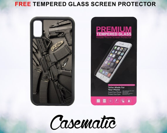 Nice Weapons Rifle Guns Ammo iPhone Case for iPhone XR XS Max X 8 Plus 8 7 Plus 7 6 Plus 6 6s SE 5S 5c 4 4s Tempered Glass Screen Protector