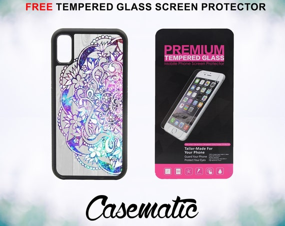 Hippie Nebula Mandala on Wood iPhone Case for iPhone XR XS Max X 8 Plus 8 7 Plus 7 6 Plus 6 6s SE 5S 5c 4 4s Tempered Glass Screen Protector