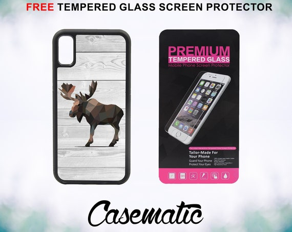 Geometric Moose on Wood iPhone Case for iPhone XR XS Max X 8 Plus 8 7 Plus 7 6 Plus 6 6s SE 5S 5c 4 4s Free Tempered Glass Screen Protector