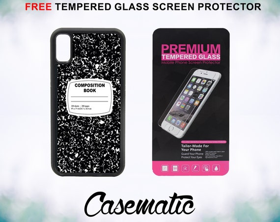 Composition Notebook Funny Retro iPhone Case for iPhone XR XS Max X 8 Plus 8 7 Plus 7 6 Plus 6 6s SE 5S 5c 4 Tempered Glass Screen Protector