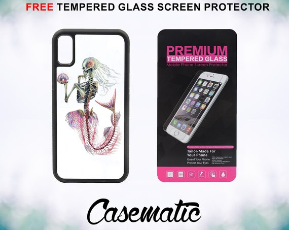 Mermaid Skeleton iPhone Case for iPhone XR XS Max X 8 Plus 8 7 Plus 7 6 Plus 6 6s SE 5S 5c 4 Free Tempered Glass Screen Protector Halloween