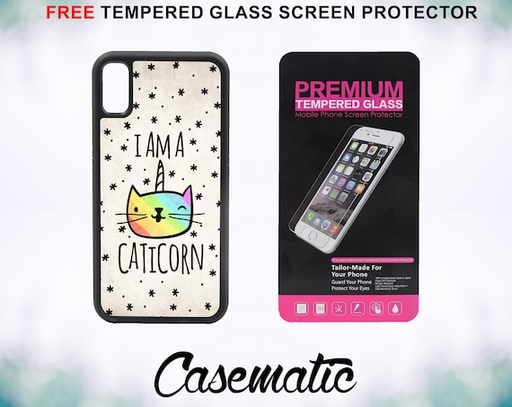 Cute Caticorn Unique iPhone Case for iPhone XR XS Max X 8 Plus 8 7 Plus 7 6 Plus 6 6s SE 5S 5c 4 4s Free Tempered Glass Screen Protector