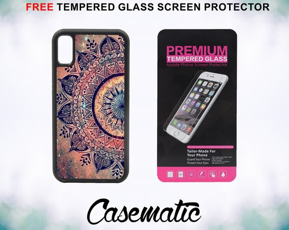 Mandala Datura Hippie iPhone Case for iPhone XR XS Max X 8 Plus 8 7 Plus 7 6 Plus 6 6s SE 5S 5c 4 4s Free Tempered Glass Screen Protector