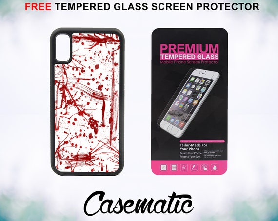 Blood Splatter iPhone Case for iPhone XR XS Max X 8 Plus 8 7 Plus 7 6 Plus 6 6s SE 5S 5c 4 4s Free Tempered Glass Screen Protector Halloween