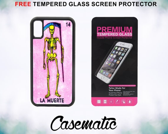 Loteria La Muerte iPhone Case for iPhone XR XS Max X 8 Plus 8 7 Plus 7 6 Plus 6 6s SE 5S 5c 4 4s Free Tempered Glass Screen Protector Death