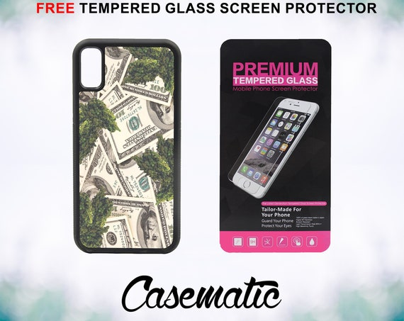 Make Money Smoke Weed iPhone Case for iPhone XR XS Max X 8 Plus 8 7 Plus 7 6 Plus 6 6s SE 5S 5c 4 4s Free Tempered Glass Screen Protector