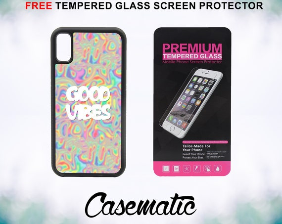 Good Vibes Trippy Acid Psychedelic iPhone Case for iPhone XR XS Max X 8 Plus 8 7 Plus 7 6 Plus 6 6s SE 5S 5c 4 4s Glass Screen Protector