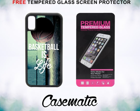 Basketball Baller Life Quote iPhone Case for iPhone XR XS Max X 8 Plus 8 7 Plus 7 6 Plus 6 6s SE 5S 5c 4 4s Tempered Glass Screen Protector