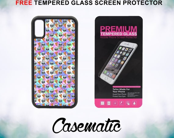 Alien Pizza Emoji Pattern iPhone Case for iPhone XR XS Max X 8 Plus 8 7 Plus 7 6 Plus 6 6s SE 5S 5c 4 Free Tempered Glass Screen Protector