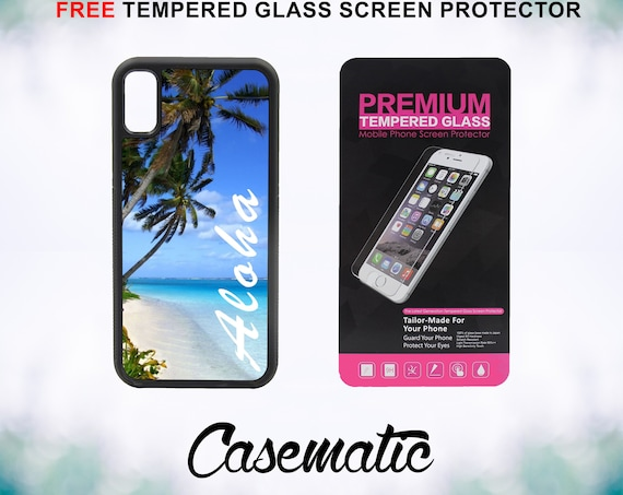Aloha Hawaiian Beach iPhone Case for iPhone XR XS Max X 8 Plus 8 7 Plus 7 6 Plus 6 6s SE 5S 5c 4 4s Free Tempered Glass Screen Protector