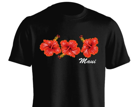 Cute Hawaii Maui Hibiscus Red Floral Flower T-Shirt For Women Teen Girls Fitness Adult Apparel Great Gift Idea Comes in Assorted Colors