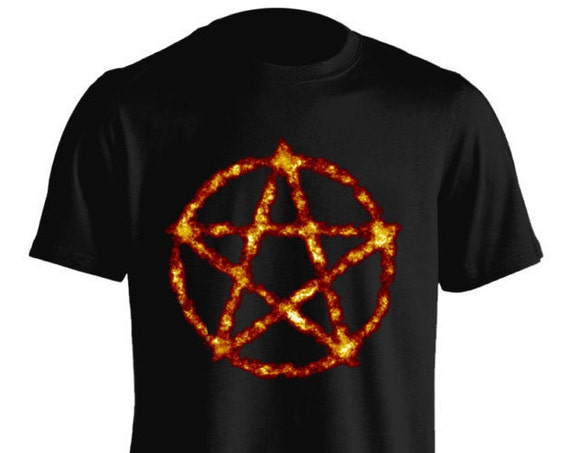Burning Pentagram Satanic Satan Devil Wiccan Tumblr Pastel Goth T-Shirt Graphic Tee For Men Women Teens Unisex Adult Apparel Great Gift Idea