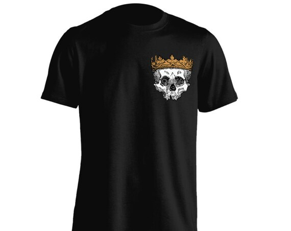 Golden Crown on Skull Pocket Tee Style T-Shirt For Men Women Teens Unisex Adult Apparel Great Gift Idea Comes in Assorted Colors