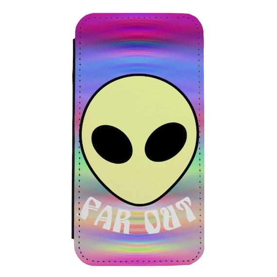 Far Out Alien for iPhone 5/5s/SE 6/6s 6/6sPlus 7/7Plus 8/8Plus X Samsung Galaxy S6/S6Edge S7/S7Edge S8/S8Plus Wallet Case