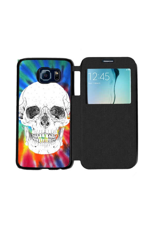 Unique Trendy Tie Dye Skull Phone Case  for Samsung GalaxyS6, S6 EDGE, S7 and S7 EDGE Flip Case