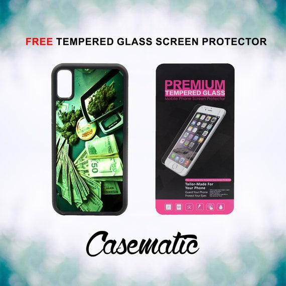 Money and Weed iPhone Case for iPhone XR XS Max X 8 Plus 8 7 Plus 7 6 Plus 6 6s SE 5S 5c 4 4s Free Tempered Glass Screen Protector