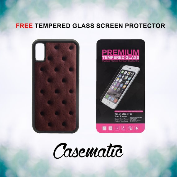 Ice Cream Sandwich Bar iPhone Case for iPhone XR XS Max X 8 Plus 8 7 Plus 7 6 Plus 6 6s SE 5S 5c 4 4s Free Tempered Glass Screen Protector
