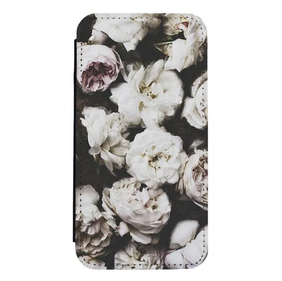 Cute Vintage Floral Art for iPhone 5/5s/SE 6/6s 6/6sPlus 7/7Plus 8/8Plus X Samsung Galaxy S6/S6Edge S7/S7Edge S8/S8Plus Wallet Case