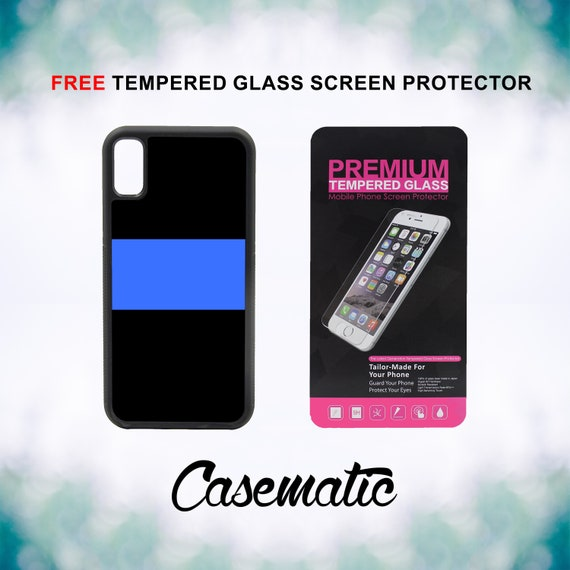 Thin Blue Line Police iPhone Case for iPhone XR XS Max X 8 Plus 8 7 Plus 7 6 Plus 6 6s SE 5S 5c 4 4s Free Tempered Glass Screen Protector