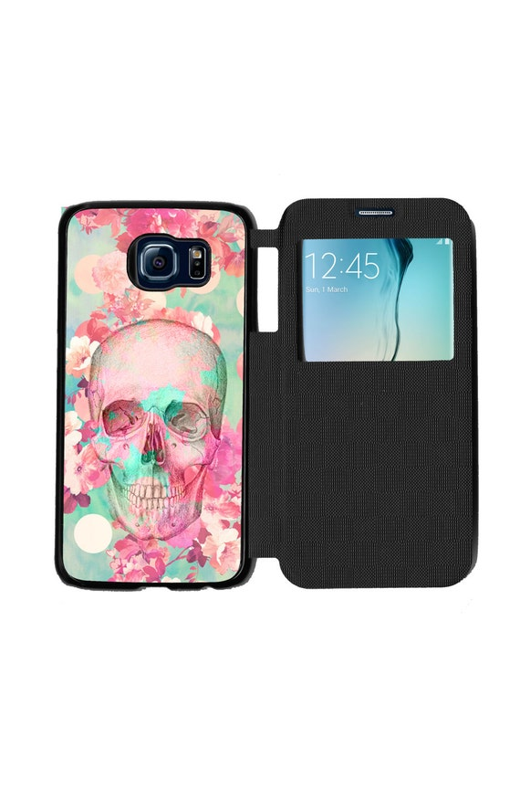 Unique Trendy Beautiful Flowers Skull for Samsung GalaxyS6, S6 EDGE, S7 and S7 EDGE Flip Case