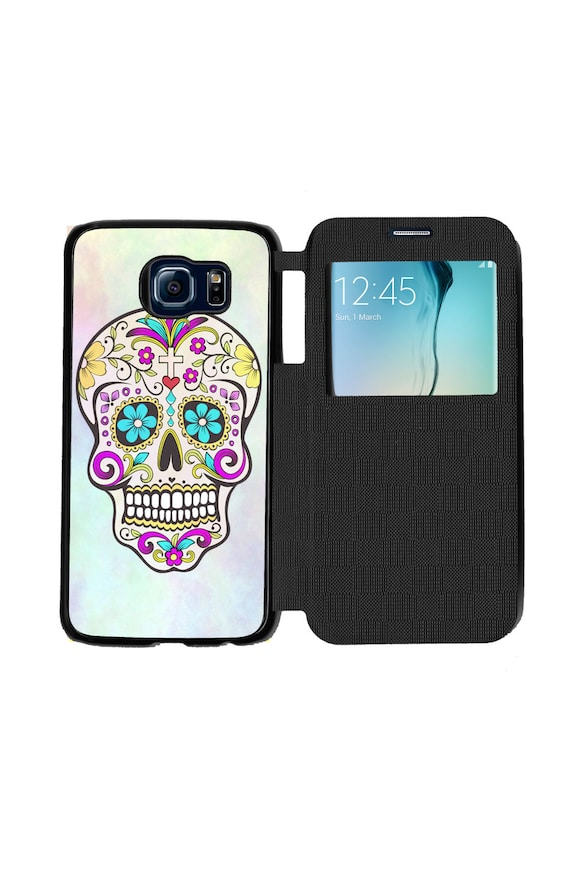 Unique Trendy Pastel Sugar Skull Day Of The Dead Skull for Samsung GalaxyS6, S6 EDGE, S7 and S7 EDGE Flip Case