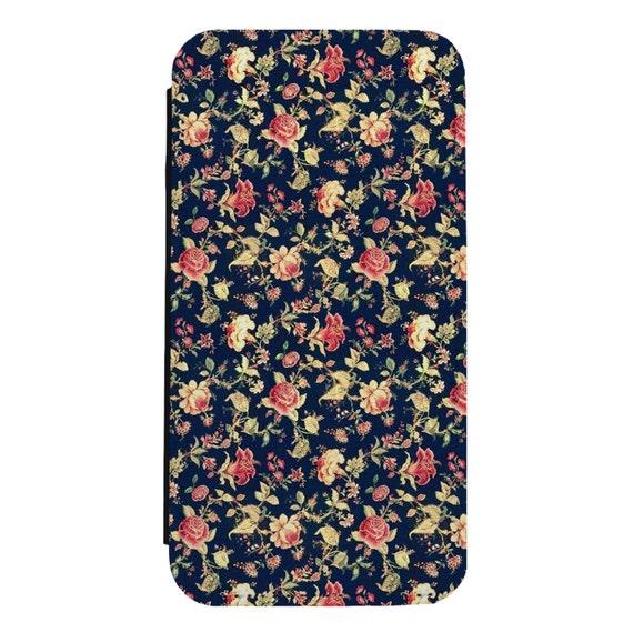 Vintage Floral Patternfor iPhone 5/5s/SE 6/6s 6/6sPlus 7/7Plus 8/8Plus X Samsung Galaxy S6/S6Edge S7/S7Edge S8/S8Plus Wallet Case