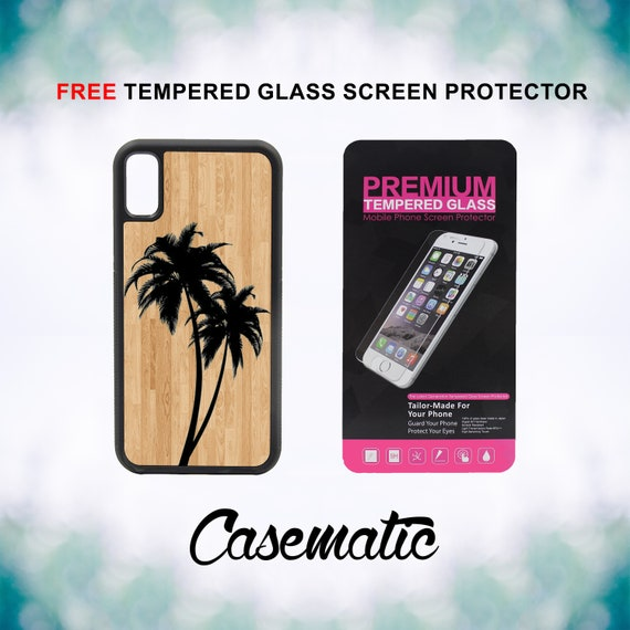 Palm Trees on Wood iPhone Case for iPhone XR XS Max X 8 Plus 8 7 Plus 7 6 Plus 6 6s SE 5S 5c 4 Free Tempered Glass Screen Protector Summer