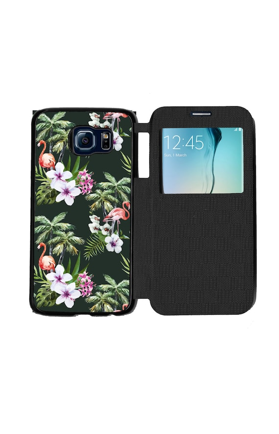 Unique Trendy Tropical Flamingo Hubiscus and Palm Tree Pattern Phone Case for Samsung GalaxyS6, S6 EDGE, S7 and S7 EDGE Flip Case