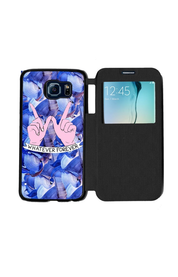 Unique Trendy Whatever Forever Blue Brush Phone Case for Samsung GalaxyS6, S6 EDGE, S7 and S7 EDGE Flip Case