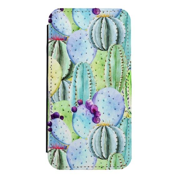 Watercolor Cactus for iPhone 5/5s/SE 6/6s 6/6sPlus 7/7Plus 8/8Plus X Samsung Galaxy S6/S6Edge S7/S7Edge S8/S8Plus Wallet Case
