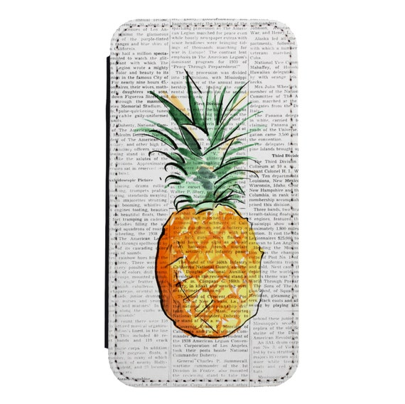 Pineapple On Newspaper for iPhone 5/5s/SE 6/6s 6/6sPlus 7/7Plus 8/8Plus X Samsung Galaxy S6/S6Edge S7/S7Edge S8/S8Plus Wallet Case