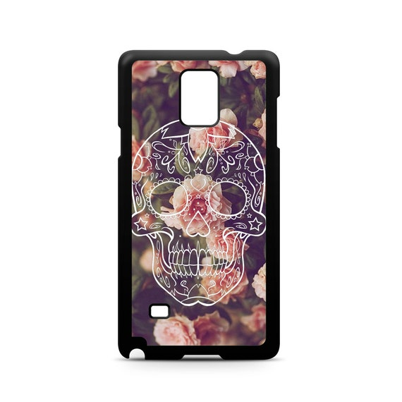 Sugar Skull on Vintage Floral for Samsung Galaxy Note 9, Note 8, Note 5, Note 4, Note 3 Phone Case Phone Cover