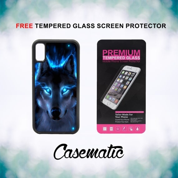 The Blue Wolf iPhone Case for iPhone XR XS Max X 8 Plus 8 7 Plus 7 6 Plus 6 6s SE 5S 5c 4 4s Free Tempered Glass Screen Protector Mystical