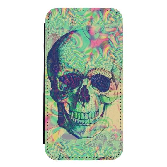 Trippy Acid Skull for iPhone 5/5s/SE 6/6s 6/6sPlus 7/7Plus 8/8Plus X Samsung Galaxy S6/S6Edge S7/S7Edge S8/S8Plus Wallet Case