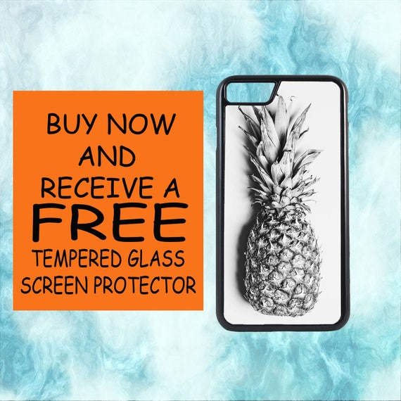 Summer Pineapple Case With FREE Tempered Glass Screen Protector For iPhone 8 iPhone 8 Plus iPhone 7 iPhone 7 Plus iPhone X