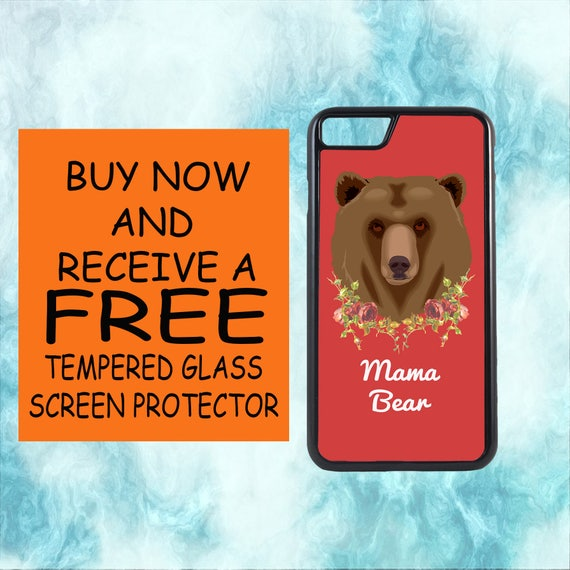 Mama Bear Case With FREE Tempered Glass Screen Protector For iPhone 8 iPhone 8 Plus iPhone 7 iPhone 7 Plus iPhone X
