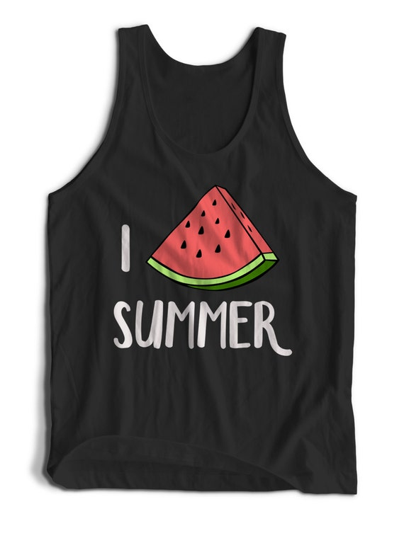 I Watermelon Summer Love Summer Quote Men Women Teens Unisex Adult Apparel Tank Top Summer Clothing Assorted Colors Tanks Colorful Tank Tops