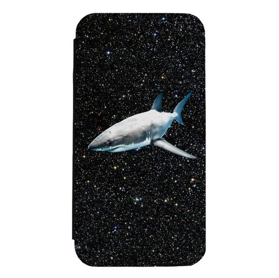 Shark in Space for iPhone 5/5s/SE 6/6s 6/6sPlus 7/7Plus 8/8Plus X Samsung Galaxy S6/S6Edge S7/S7Edge S8/S8Plus Wallet Case