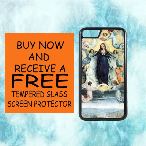 Assumption Of Virgin Mary Case With FREE Tempered Glass Screen Protector For iPhone 8 iPhone 8 Plus iPhone 7 iPhone 7 Plus iPhone X
