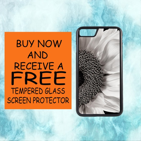 BlknWht Sunflower Case With FREE Tempered Glass Screen Protector For iPhone 8 iPhone 8 Plus iPhone 7 iPhone 7 Plus iPhone X