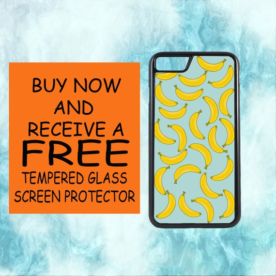 Banana Pattern Case With FREE Tempered Glass Screen Protector For iPhone 8 iPhone 8 Plus iPhone 7 iPhone 7 Plus iPhone X