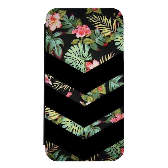 Chevron Floral Pattern for iPhone 5/5s/SE 6/6s 6/6sPlus 7/7Plus 8/8Plus X Samsung Galaxy S6/S6Edge S7/S7Edge S8/S8Plus Wallet Case